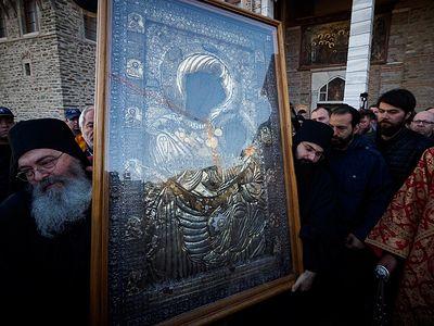 Mount Athos. Procession with the Iveron Icon