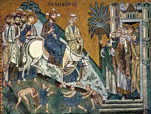 Entry of the Lord into Jerusalem. Mid-seventh century, Mosaic in the Palestinian chapel in Palermo, Sicily.