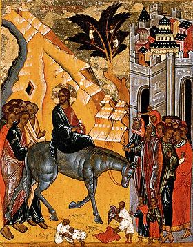 Вход Господень в Иерусалим. Конец XV в. Лицевая сторона двухсторонней иконы-