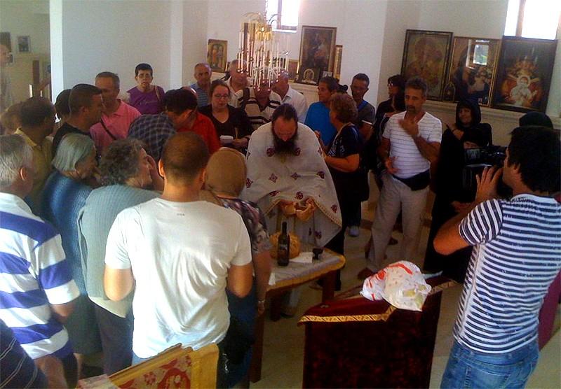 Благословение Славского колача в храме Успения Божией Матери в Джаковице