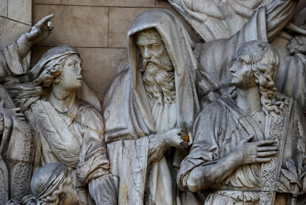Встреча Давида, победившего Голиафа. Фрагмент