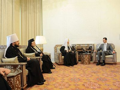 His Holiness Patriarch Kirill meets with President of Syria Bashar al-Assad