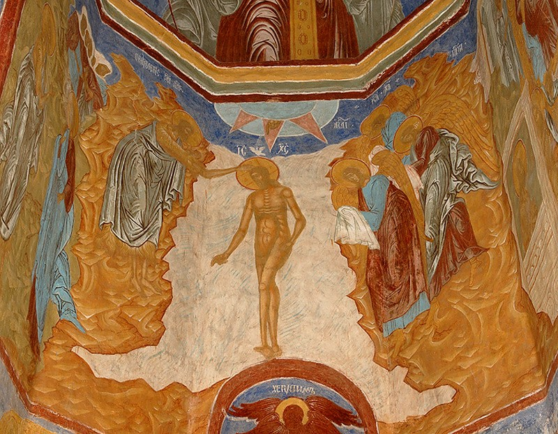 Fresco in the side altar of St. John the Baptist, 1668, Trinity Cathedral in Peryeslavl-Zalessky.
