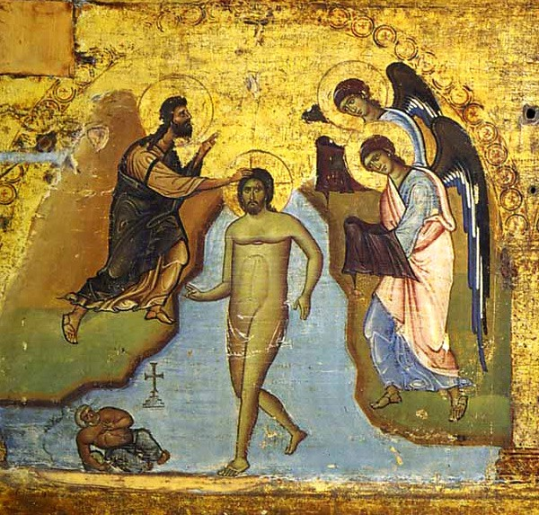 Baptism__Transfiguration__Resurrection of Lazarus, an epistilion on the templon (a horizontal series of icons depicting the major feasts, on the board extending over the altar doors). Late 7th c., Sinai Monastery.