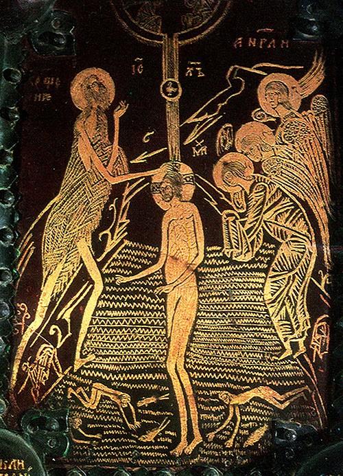 Деталь Васильевских врат., 1336 г., техника золотой наводки на меди