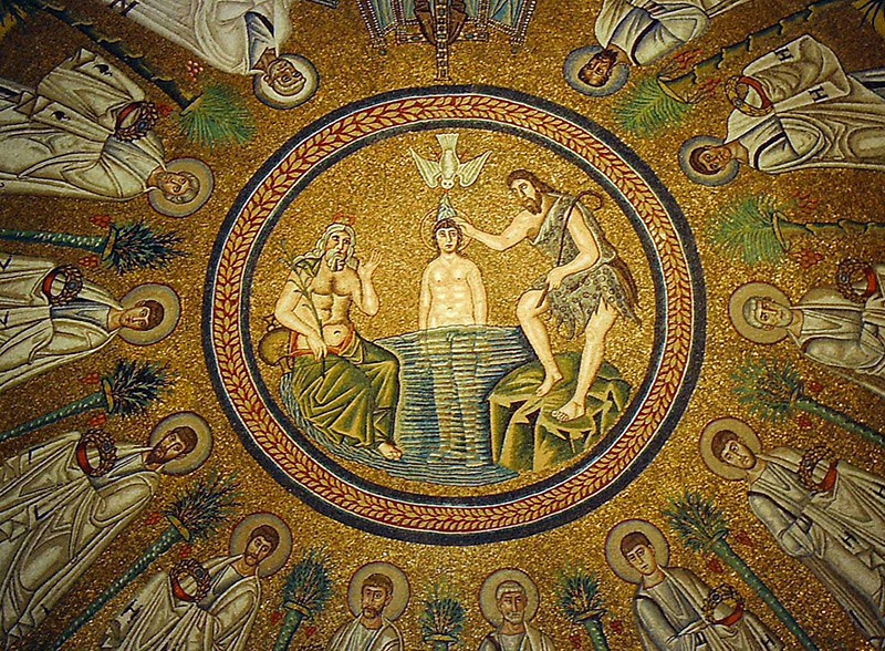 The Arian baptistery in Ravenna. 493-526. Mosaic in the dome.