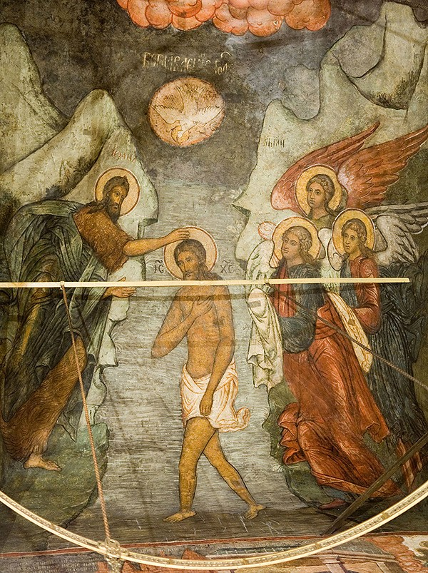 Fresco in the northwest arch of the Cathedral of the Meeting of the Vladimir Icon, Sretensky Monastery, 1707.