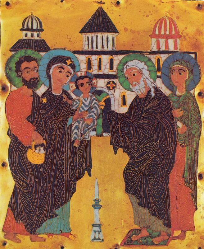 Сретение. Эмаль. Конец XII -начало XIII вв. Грузия. Государственный музей искусств Грузии, Тбилиси