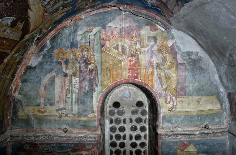 Fresco, Church of the Mother of God Hodigitria in Pec, Serbia. Cir. 1337.
