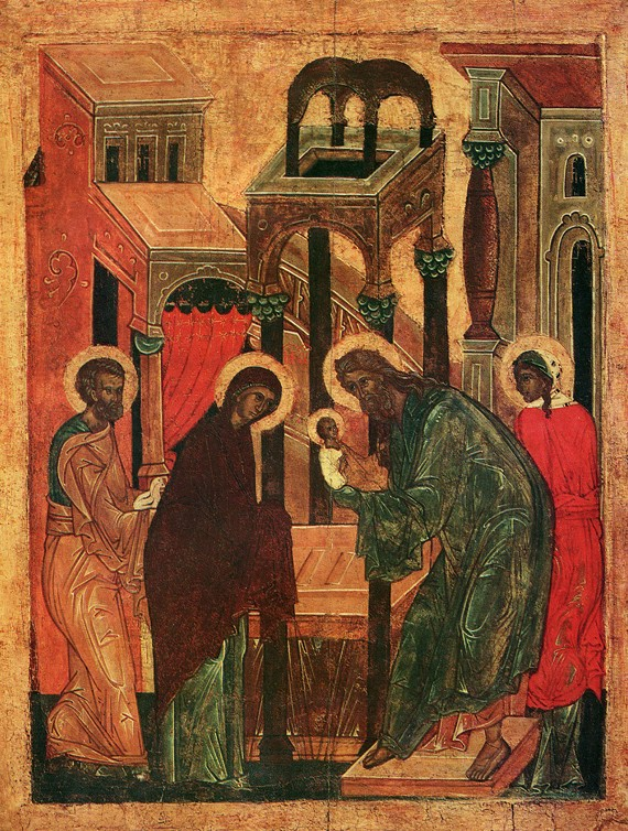 Icon, early 16th c., from the festal row in the Church of the Archangels in the old city, Pskov, Pskov museum-reserve.