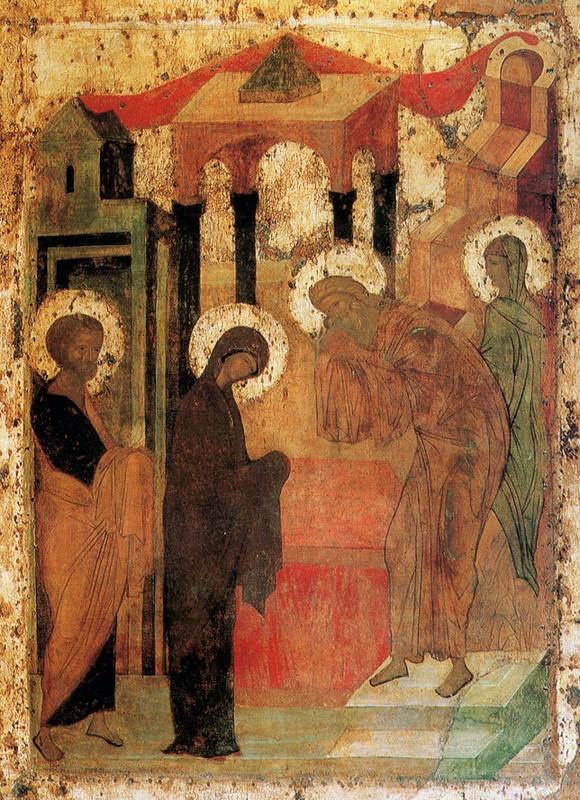 Икона из иконостаса Троицкого собораТроице-Сергиевой Лавры, около 1425 г. Приписывается Андрею Рублеву