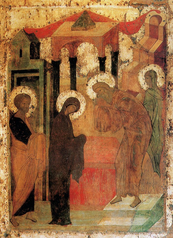 Icons from the iconostasis of the Trinity Cathedral, Holy Trinity-St. Sergius Lavra, cir. 1425. Ascribed to St. Andrei Rublev.