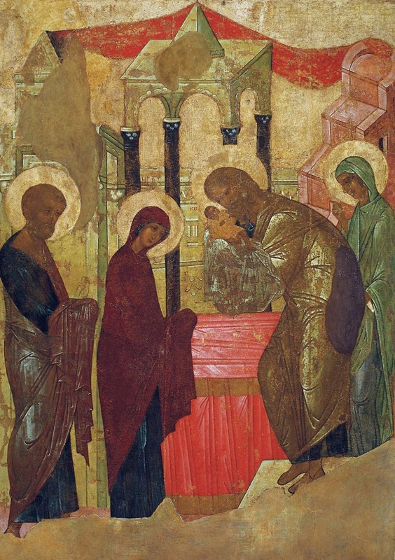 1408, Andrei Rublev group. From the iconostasis of the Dormition Cathedral, Vladimir. Russian State Museum.