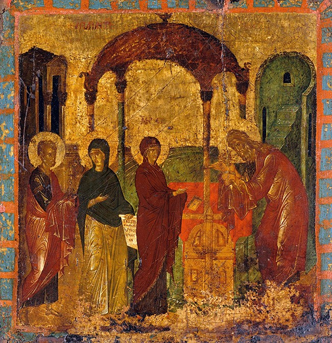 Byzantine icon, 15th c., tempera on wood 44.45 x 42.2 cm. Metropolitan Museum, New York.