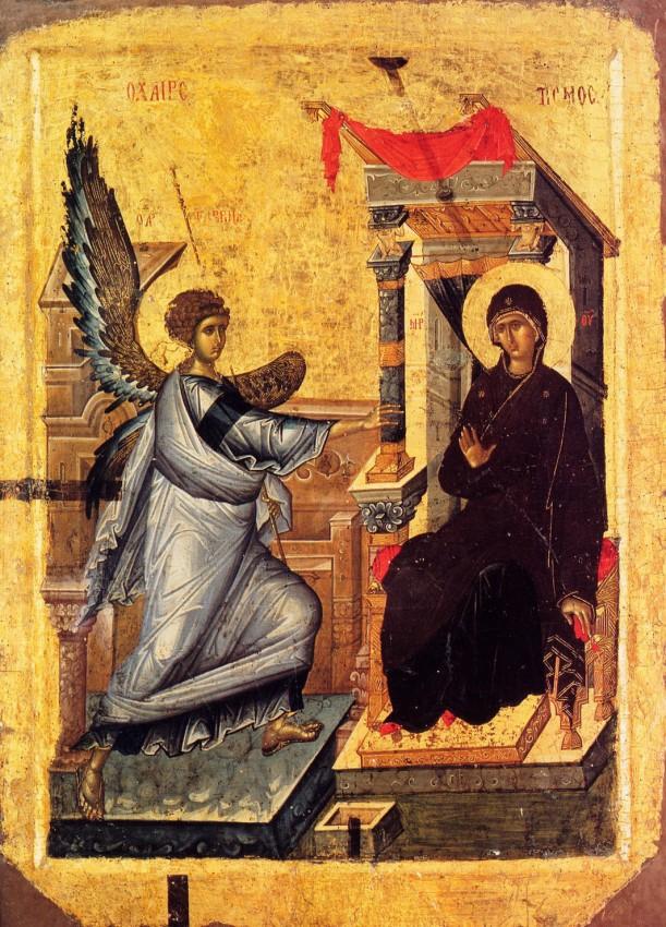 Благовещение, оборот иконы «Богоматерь Психосострия». XIV век. Охрид