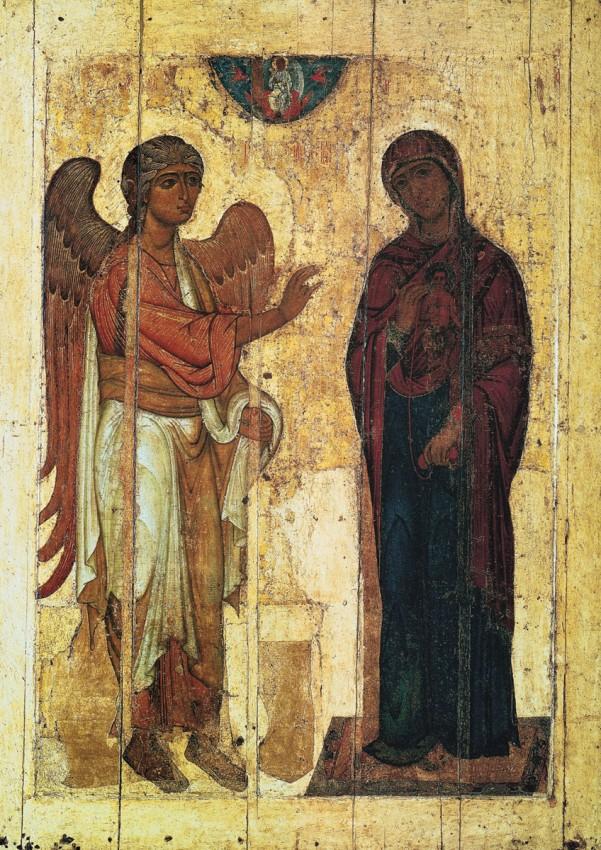 Устюжское Благовещение, Новгородская икона, вторая четверть XII век,  Государственная Третьяковская Галерея