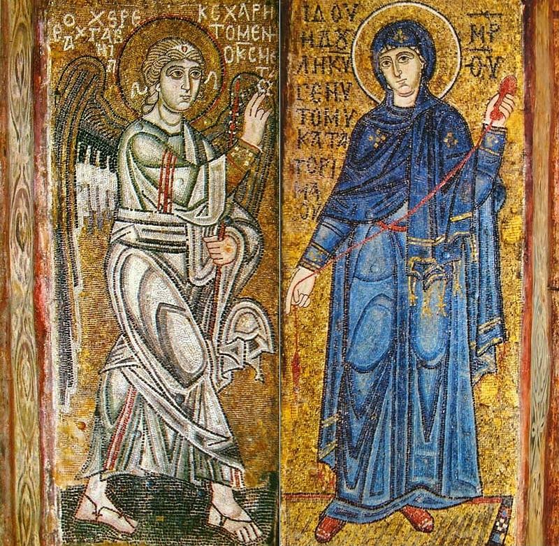 Благовещение, мозаики на двух столбах Софии Киевской, ок. 1040