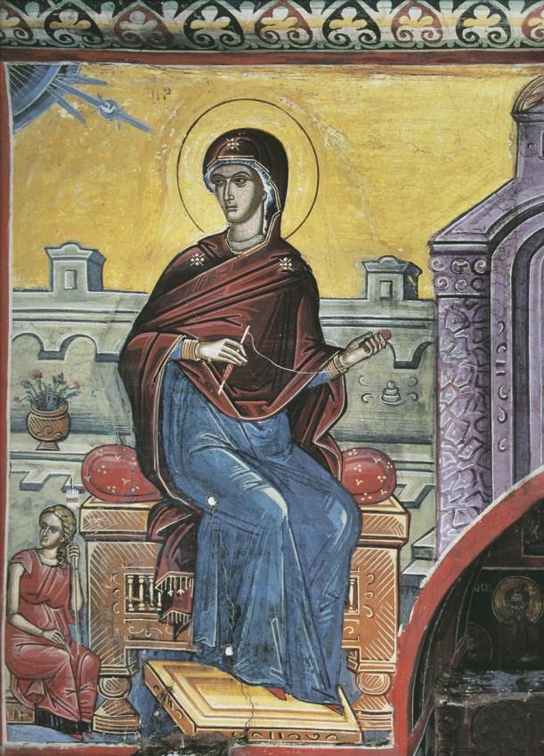 Благовещение, Пресвятая Дева. XVI в. Афон, монастырь Дионисиат