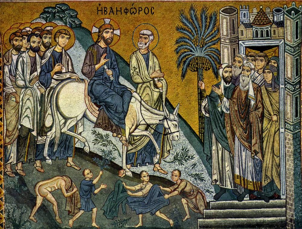 Вход Господень в Иерусалим. Середина XII в. Мозаика Палатинской капеллы в Палермо, Италия