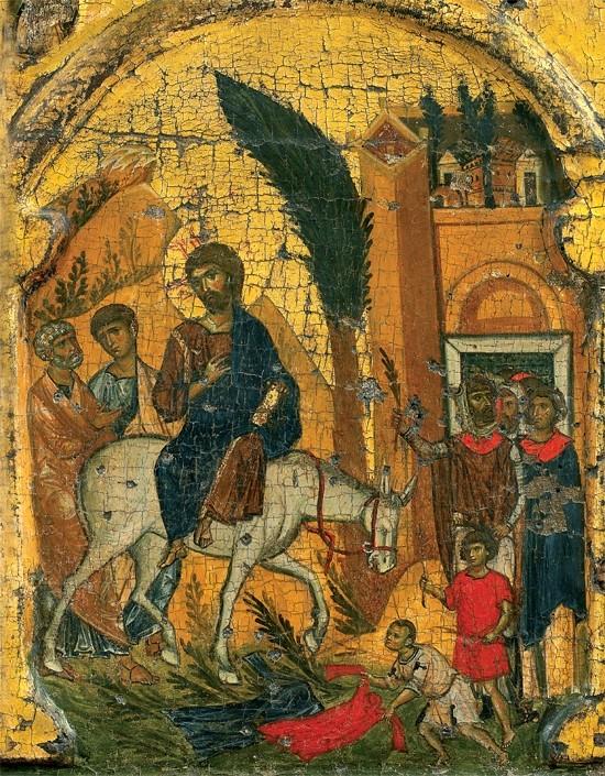 Вход Господень в Иерусалим. Икона из монастыря Ватопед, Афон
