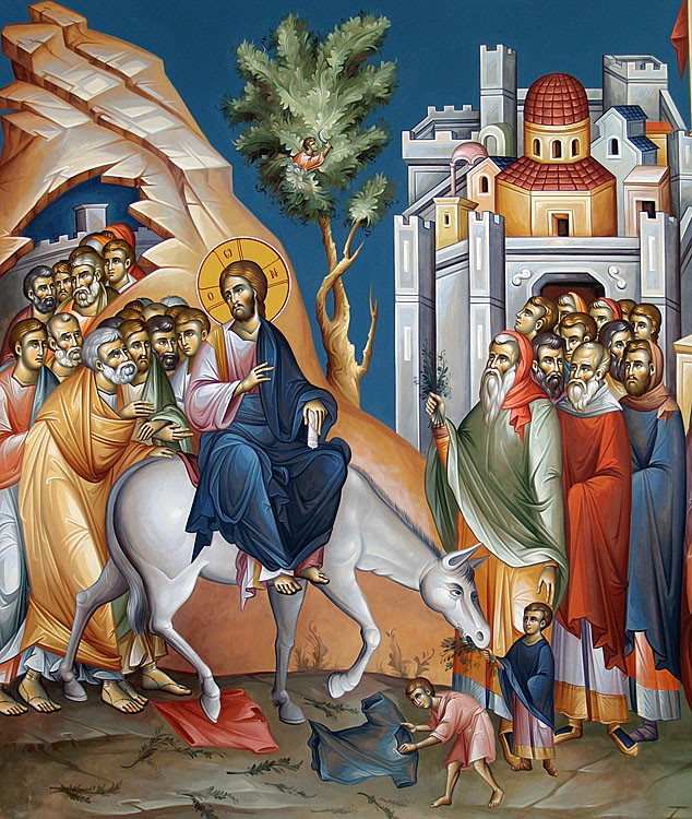 The Entry of the Lord into Jerusalem. Modern fresco by Mamatsios Giorgios.