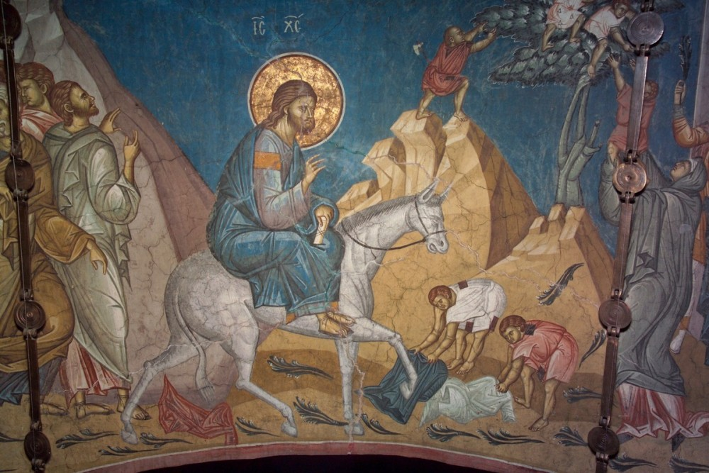 The Entry of the Lord into Jerusalem. Decani, Serbia. Fragment of fresco.