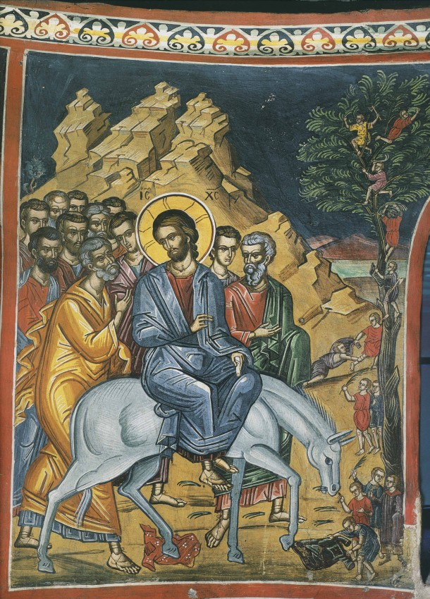 The Entry of the Lord into Jerusalem. Fresco in Dionysiou Monastery, Mt. Athos.