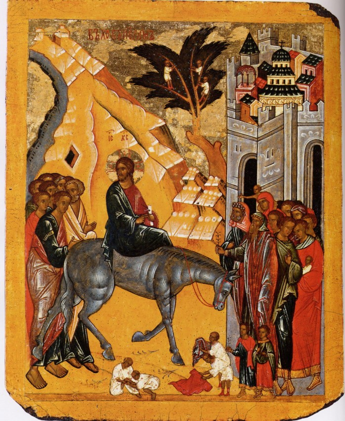 The Entry of the Lord into Jerusalem (two-sided icon) Novgorod. 15th c.
