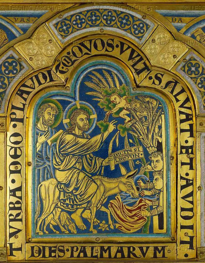 The Entry of the Lord into Jerusalem. Enamel. Nicholai Verdunsky. 1181