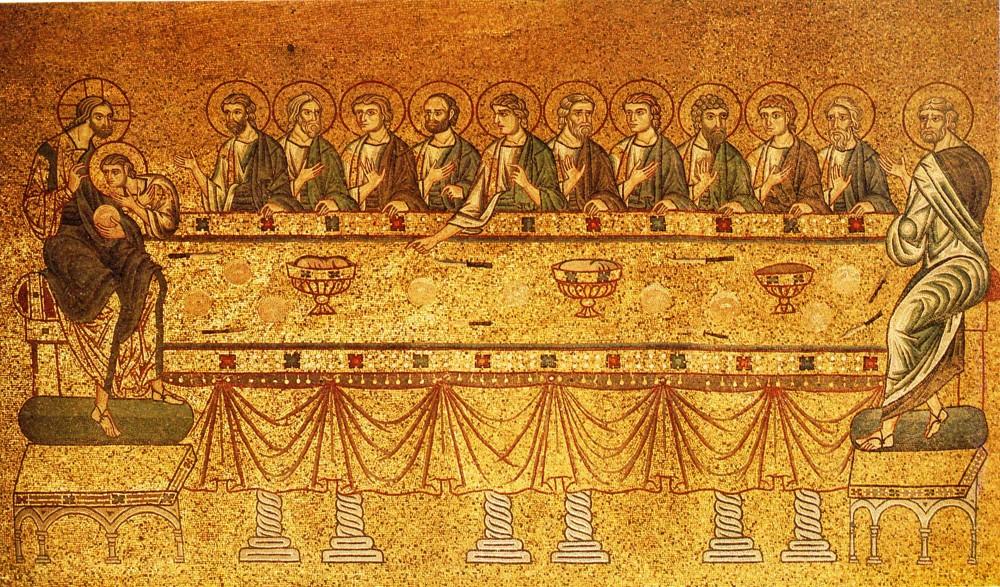 Великий Четверг. Тайная Вечеря. Мозаика собора св. Марка, Венеция