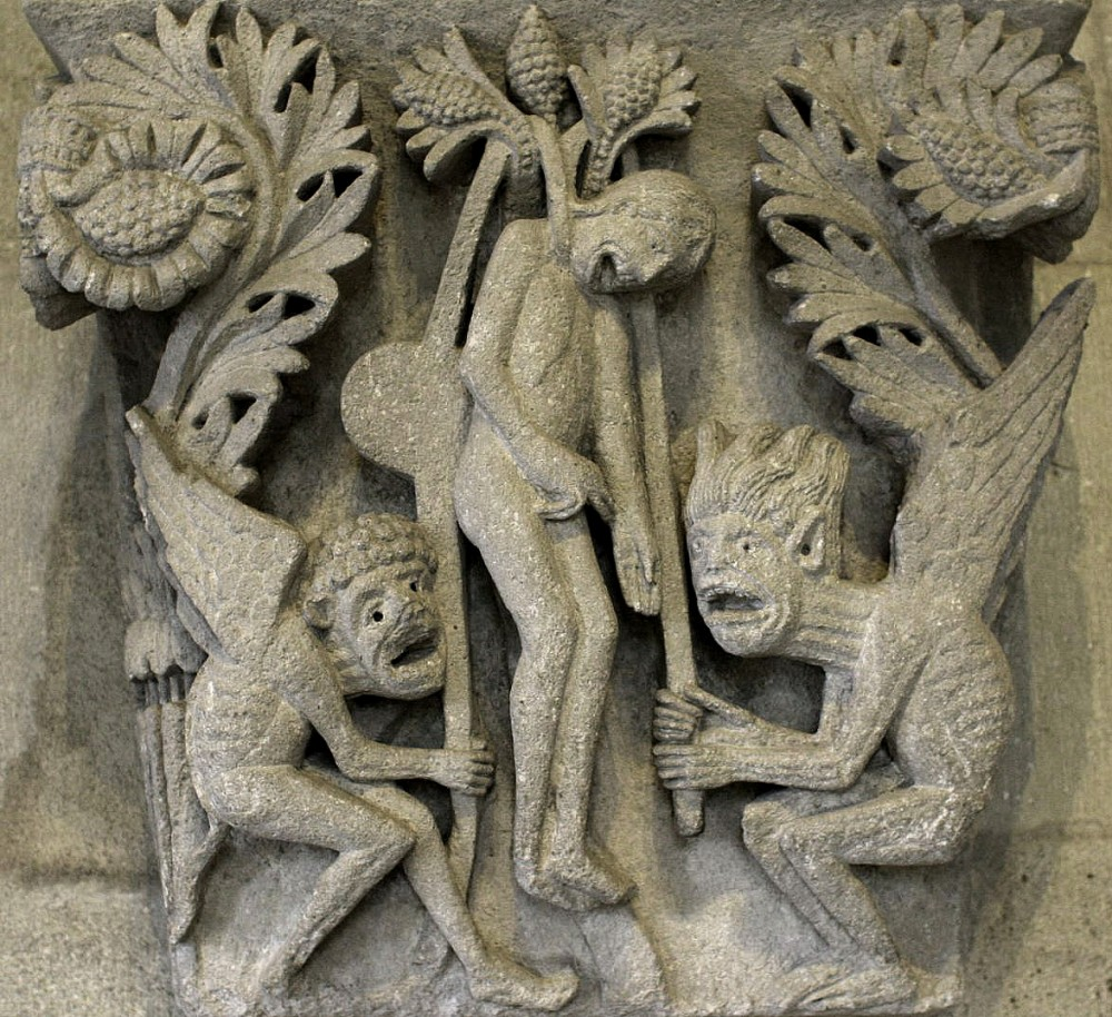 Великая Пятница. Смерть Иуды. Капитель церкви св. Лазаря, Франция. XII в.