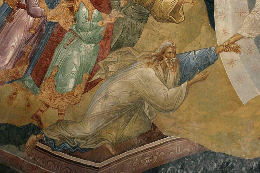 Адам. Фрагмент сошествия Христа во ад. Фреска монастыря Хора, Константинополь. XIV в.