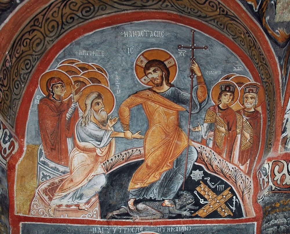 Christ's descent into hell. Fresco of a cave church in Cappadocia. 11th.