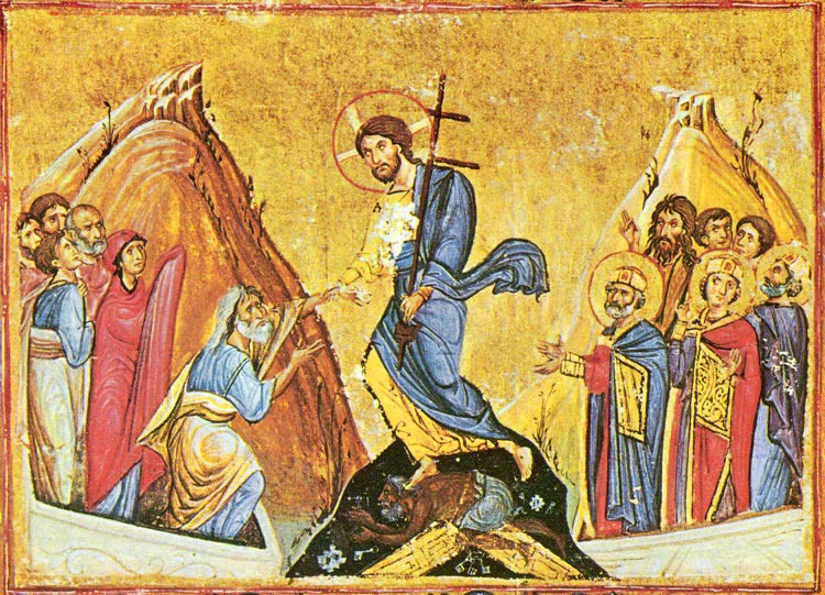 Christ's descent into hell. Byzantine miniature. Dionysiou Monastery, Mt. Athos.