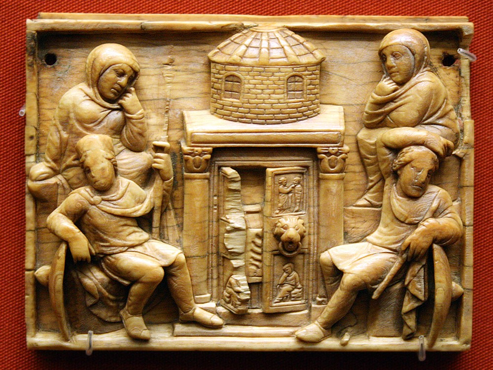 The myrrh-bearing women at the Lord's tomb. Ivory. British Museum. 420-430.