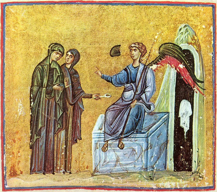 The myrrh-bearing women and angel on the tomb.  Byzantine miniature.
