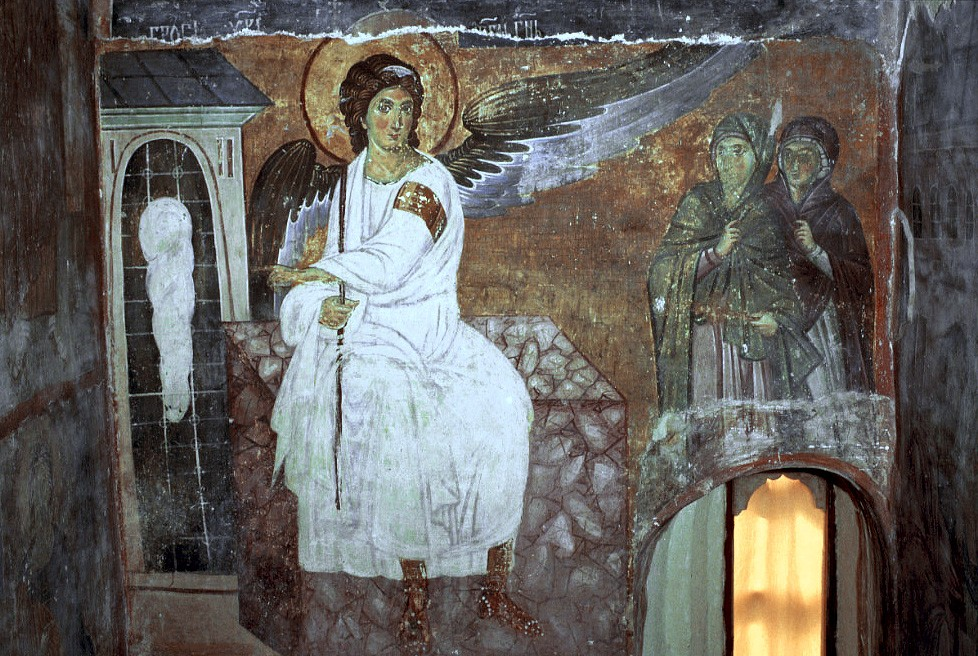The White Angel. A fresco in the monastery in Milesevo, Serbia. 8th c.