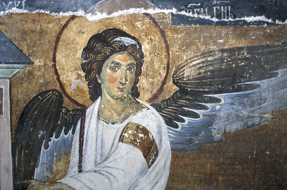 The White Angel. A fresco in the monastery in Milesevo, Serbia. 8th c. Fragment.