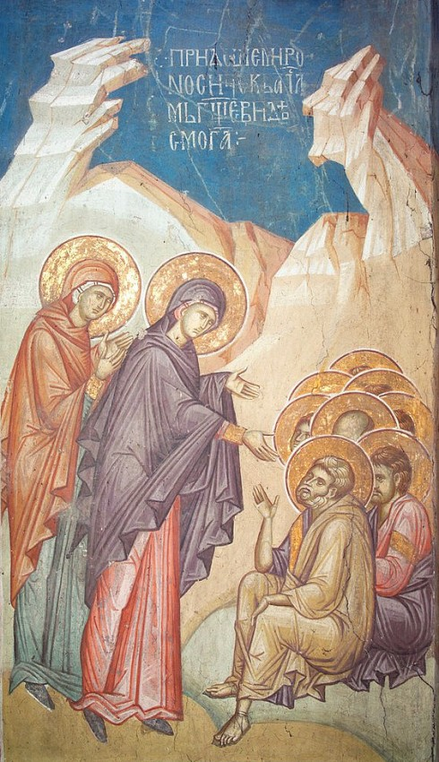 The myrrh-bearing women tell the apostles about Christ's Resurrection. Fresco in Vysoki Decani Monastery, Serbia. 14th c.