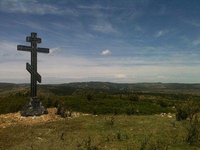"In Spain, cross erected in memory of the ""White"" Russian Volunteer Army"