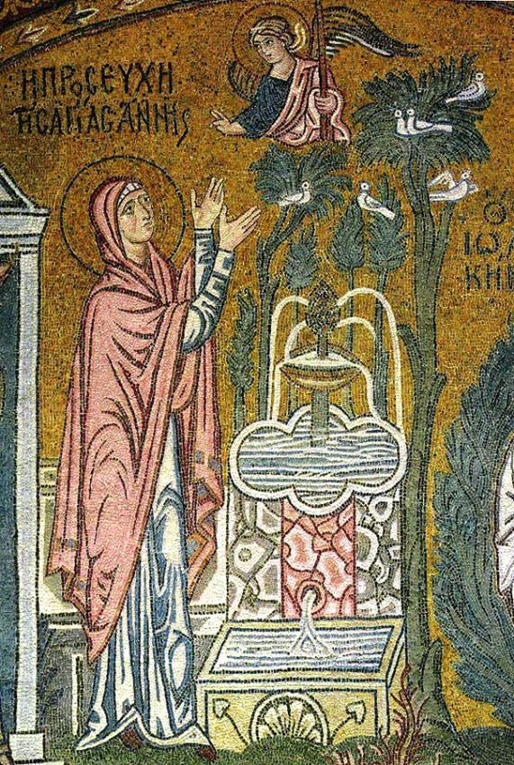 Благовещение святой Анне. Мозаика. 1100 г., монастырь Успения Божией Матери, Дафни, Греция