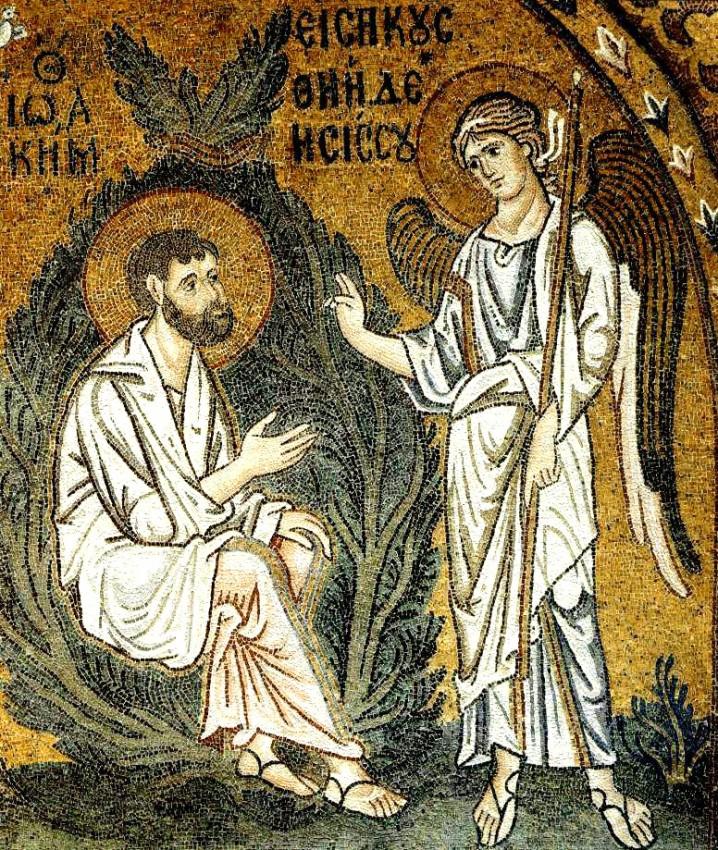 Благовещение святому Иоакиму. Мозаика. 1100 г., монастырь Успения Божией Матери, Дафни, Греция