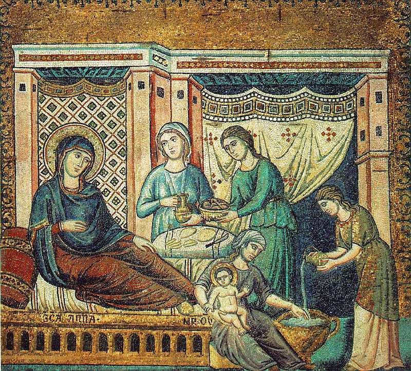 Рождество Пресвятой Богородицы. Мозаика. Церковь Святой Марии за Тибром, Рим