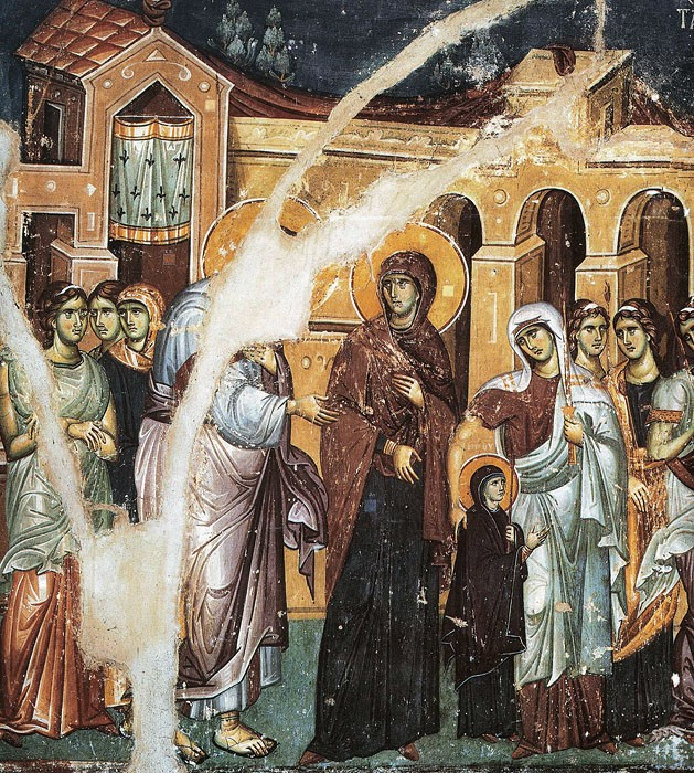 Иоаким и Анна вводят Деву Марию в храм. Введение во храм Пресвятой Богородицы. Панселин, XIII век. Карея, Афон (фрагмент)