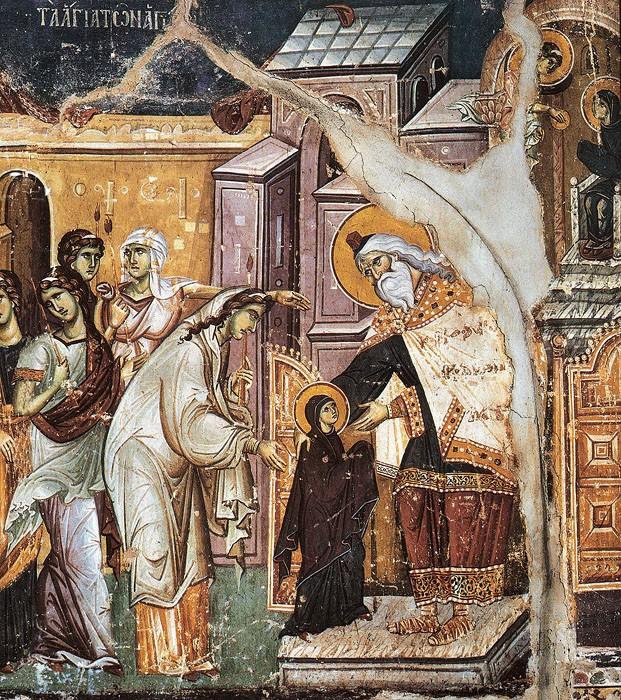 Дева Мария перед Первосвященником. Введение во храм Пресвятой Богородицы. Панселин, XIII век. Карея, Афон (фрагмент)