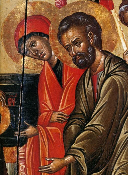 Иоаким и Анна. Введение во храм Пресвятой Богородицы. Крит, XVII век (фрагмент)