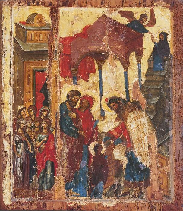 Введение во храм Пресвятой Богородицы. Византийская икона 1320 года. Хиландар, Афон