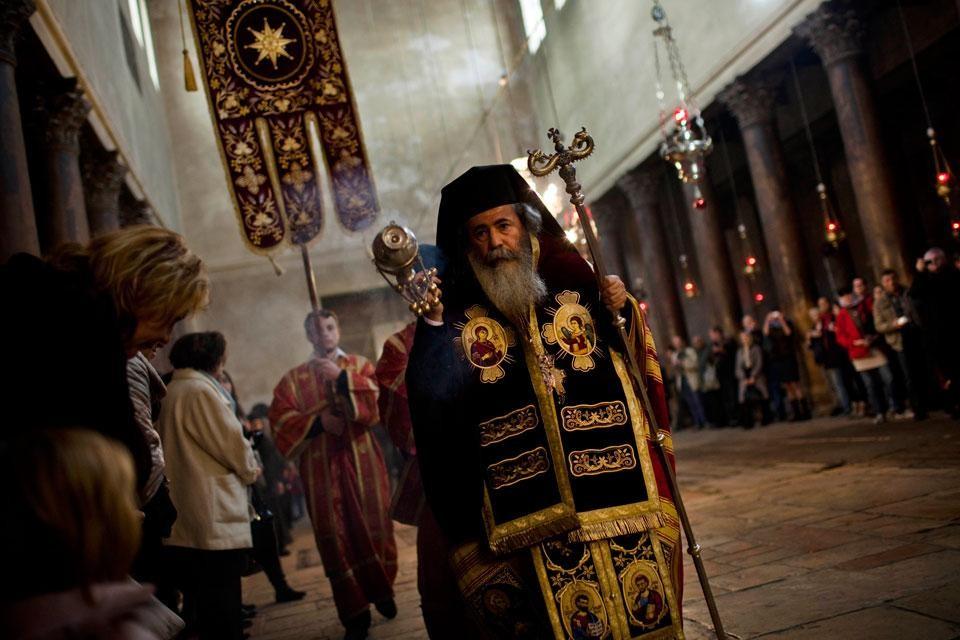 Иерусалимский Патриарх Феофил III, храм Рождества Христова, Вифлеем