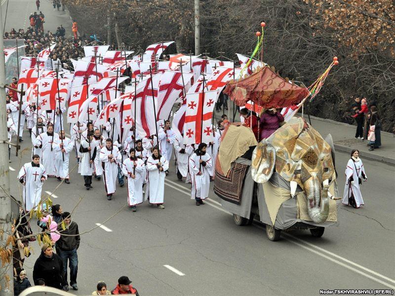 Рождественский крестный ход Алилооба, Тбилиси, Грузия