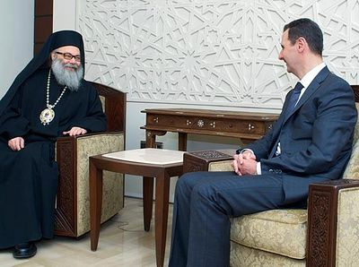 Bashar Assad meets the Patriarch of Antioch
